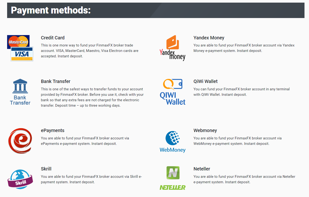 finmax fx payment methods
