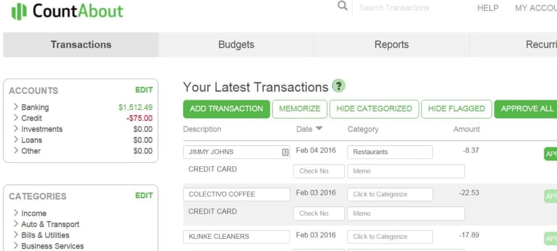 CountAbout Budgeting Tool